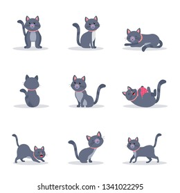 Cute grey cats vector color illustrations set. Playful and naughty kitten in different poses flat cliparts. Cartoon domestic animal character. Funny pet in pink collar isolated design elements pack