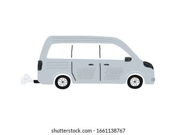 Cute grey minivan car isolated on a white background. Icon in hand drawn style for design of children's rooms, clothing, textiles. Vector illustration