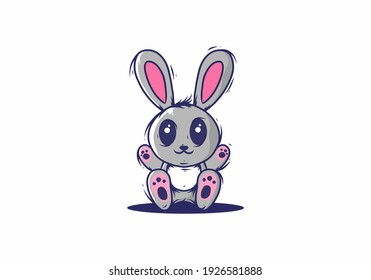 Cute grey pink rabbit illustration design