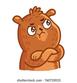 Cute Grizzly Bear: arrogant, haughty, resentful, offended, proud emotions. Set of characters in vector hand drawn style, doodle cartoon illustration. As logo, mascot, sticker, emoji