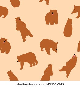 Cute Grizzly Bear Seamless Pattern