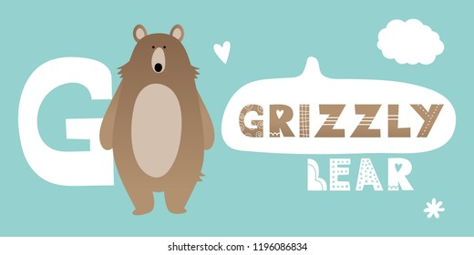 Cute grizzly brown bear. Alphabet with forest animals. Caption: grizzly bear. Letter G. Vector childish illustration on blue background. Elements for design. Cloud, heart, flower.