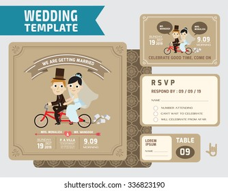 cute groom and bride character wedding invitation card template.modern design flat vector for marriage.graphic  illustration. married concept.