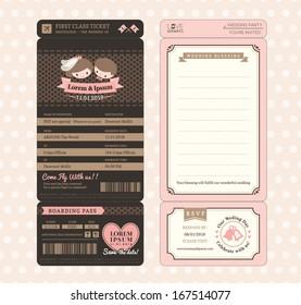 Cute Groom and Bride Vintage Boarding Pass Ticket Wedding Invitation design Template Vector