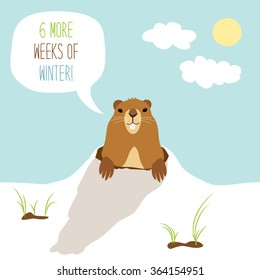 Cute Groundhog Day card as funny cartoon character of marmot with speech bubble and hand written text