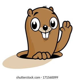 A cute groundhog peeking out of its hole on Groundhog day. Vector illustration