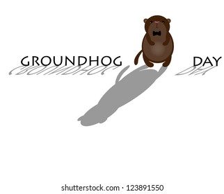 Cute Groundhog with shadow. Symbol of Groundhog day with text