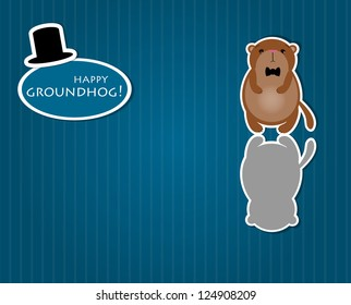 Cute Groundhog with shadow. Symbol of Groundhog day