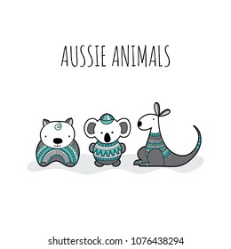 Cute group of Australian animal friends with doodle patterns for newborn or birthday celebrations, invitations and parties, green and grey.