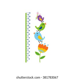 Cute Growth Charts for kids. Vector print for wall decor
