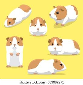 Cute Guinea Pig Poses Cartoon Vector Illustration