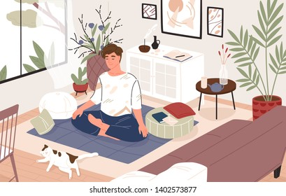 Cute guy or boy sitting cross-legged in his room or apartment and practicing yoga. Young male yogi with crossed legs and closed eyes meditating at home. Flat cartoon colorful vector illustration.