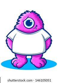 Cute Hairy Monster Cartoon Mascot/Vector Monster Character Illustration
