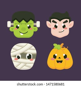 Cute Halloween Avatar with Dracula, Frankenstein, mummy, jack o lantern Illustration