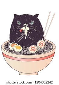 Cute halloween black cat sitting in the bowl eating ramen, noodles soup.
