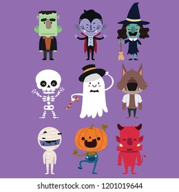 Cute Halloween characters with simple color and easily editable layers.