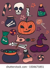 Cute Halloween Clipart vector illustration, isolated, design, stickers