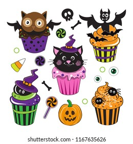 Cute Halloween Cupcakes with cat, pumpking, bat on a white background