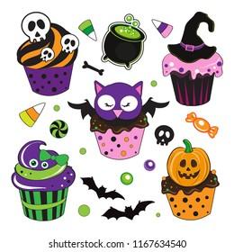 Cute Halloween Cupcakes with owl, pumpking, bat