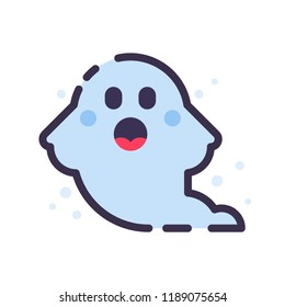 Cute Halloween ghost. Little Emoji ghost. Frightening spook. Isolated flat vector illustration on white background.