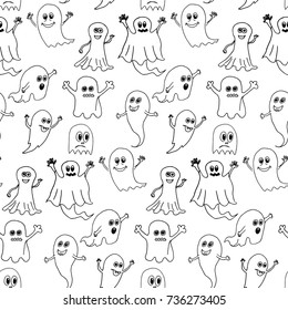 Cute halloween ghosts seamless pattern. Doodle vector hand drawn illustration.