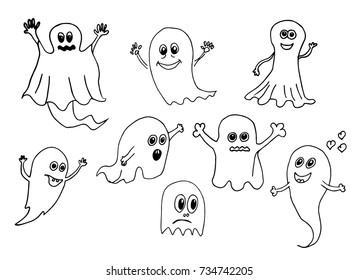 Cute halloween ghosts set. Doodle vector hand drawn illustration.