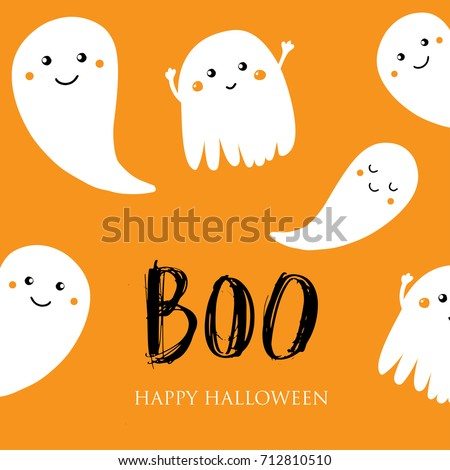 Cute Halloween Invitation Greeting Card Small Stock Vector Royalty