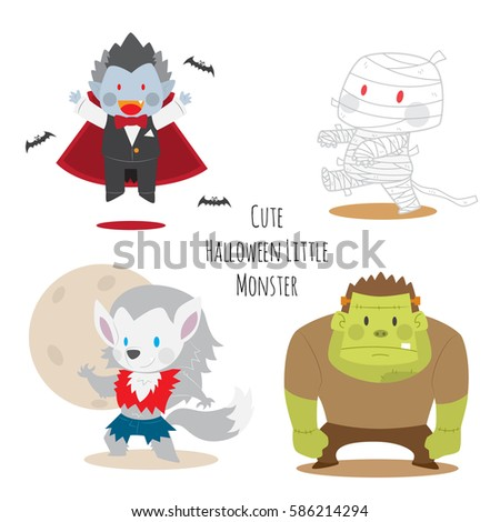 cute halloween monsters set vector illustration including vampire with bats the mummy werewolf and