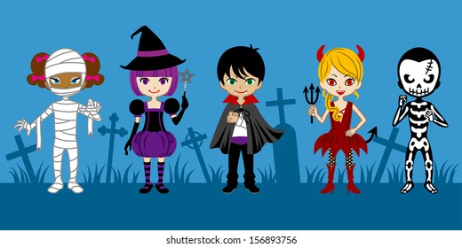 Cute Halloween Monsters,in graveyard