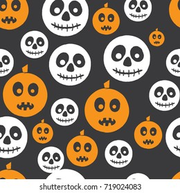 Cute Halloween pattern with cute doodle pumpkin and skeleton and dark in the background