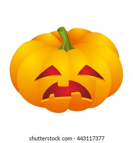 Cute Halloween pumpkin decoration making different funny face expression