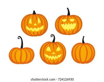 Cute halloween pumpkins. Isolated on white background. Flat style vector illustration.