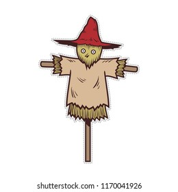 Cute halloween scarecrow doodle patch sticker.