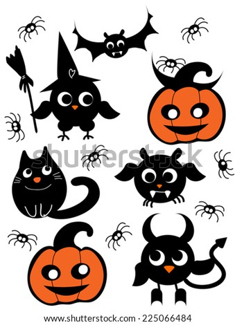 Cute Halloween Set Pumpkin Owl Witch Devil Bat Spider