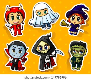 Cute Halloween stickers set
