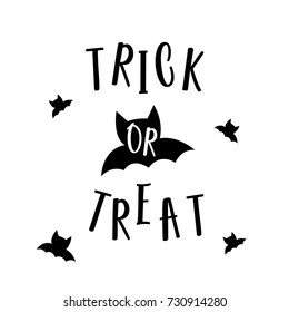 Cute Halloween in Trick or Treat design concept with black bats on white background for poster, banner, party invitation, greeting card. Vector Illustration.