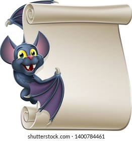 A cute Halloween vampire bat animal cartoon character peeking around from behind a scroll banner sign and pointing at it with their wing