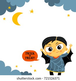 Cute Halloween vector greeting card or party invitation template with vampire boy in carnival costume and copy space for text