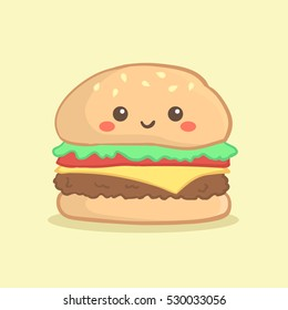 Cute Hamburger Burger Vector Illustration Cartoon