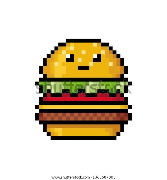 Image Vectorielle De Stock De Joli Hamburger Au Style Pixel