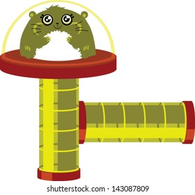 Cute hamster with play tubes - Vector clip art illustration on white background. Hamster is on a separate layer