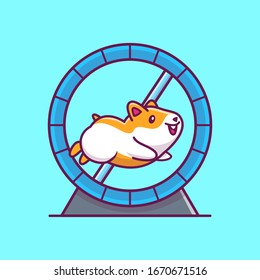 Cute Hamster Running Vector Icon Illustration. Hamster Mascot Cartoon Character. Animal Icon Concept White Isolated. Flat Cartoon Style Suitable for Web Landing Page, Banner, Flyer, Sticker, Card