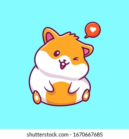 Cute Hamster Sitting Vector Icon Illustration. Hamster Mascot Cartoon Character. Animal Icon Concept White Isolated. Flat Cartoon Style Suitable for Web Landing Page, Banner, Flyer, Sticker, Card