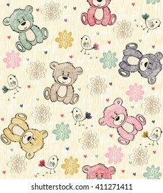 Cute hand draw seamless pattern with cartoon bear