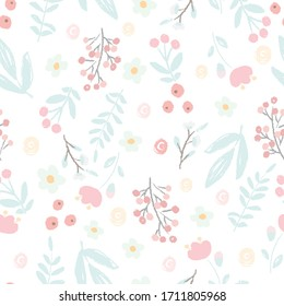 cute hand draw style pastel pink and blue spring tiny little flower and leaf seamless pattern