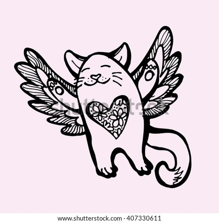 Cute hand drawing cat with wings. Vector illustration