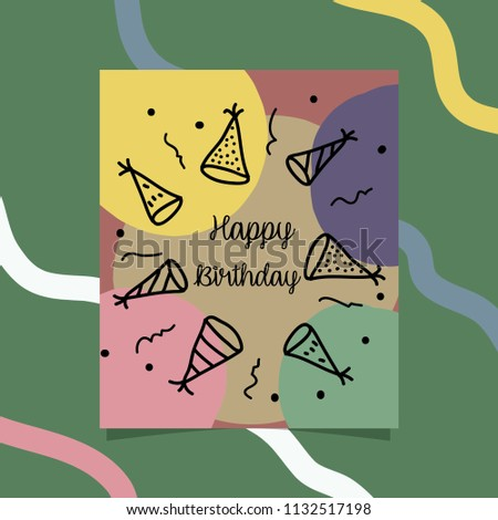 Cute Hand Drawing Happy Birthday Card Stock Vector Royalty Free
