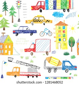 cute hand drawing kids cars and trucks doodle seamless pattern
