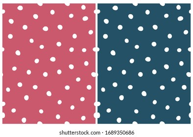 Cute Hand Drawn Abstract Irregular Polka Dots Vector Patterns. White Brush Dots Isolated on a Red and Dark Blue Background. Simple Dotted Vector Repeatable Print for Fabric, Wrapping Paper.