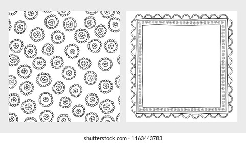 Cute Hand Drawn Abstract Vector Illustrations Set. Black Childish Simple Flowers. Delicate Infantile Lace Border.